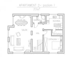 apartament 2- rzut poziom .I